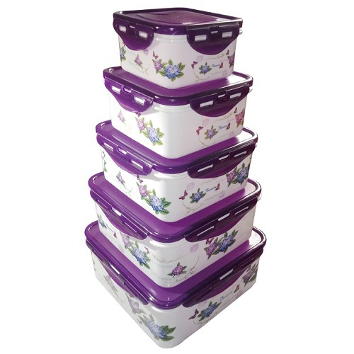 收納PP保鮮盒5入組 顏色隨機出貨(四方型)