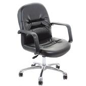 《GXG》短背皮面 電腦椅 (鋁合金腳) TW-1003LU(黑皮面)