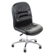 《GXG》短背皮面 無扶手電腦椅 (鋁合金腳) TW-1004 LU(黑皮面)