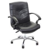 《GXG》短背皮面 電腦椅 (鋁合金腳) TW-1007LU(黑色)