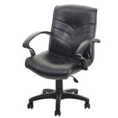 《GXG》短背皮面 電腦椅 (可後躺/塑膠腳) TW-1007EK(黑色)