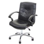 《GXG》短背皮面 電腦椅 (可後躺/鋁合金腳) TW-1007LUK(黑色)