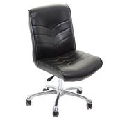 《GXG》短背皮面 無扶手電腦椅 (鋁合金腳) TW-1008 LU(黑色)