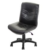 《GXG》短背皮面 無扶手電腦椅 (可後躺/塑膠腳) TW-1008EK(黑色)