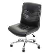 《GXG》短背皮面 無扶手電腦椅 (可後躺/鋁合金腳)TW-1008LUK(黑色)
