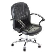 《GXG》短背皮面 電腦椅 (鋁合金腳) TW-1011LU(黑色)