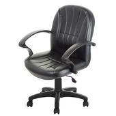 《GXG》短背皮面 電腦椅 (可後躺/塑膠腳) TW-1011EK(黑色)
