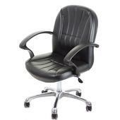 《GXG》短背皮面 電腦椅 (可後躺/鋁合金腳) TW-1011LUK(黑色)
