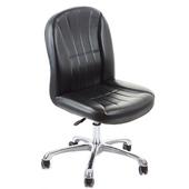 《GXG》短背皮面 無扶手電腦椅 (鋁合金腳) TW-1012 LU(黑色)