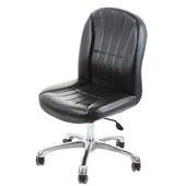 《GXG》短背皮面 無扶手電腦椅 (可後躺/鋁合金腳) TW-1012LUK(黑色)