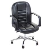 《GXG》短背皮面 電腦椅 (鋁合金腳) TW-1023LU(黑色)