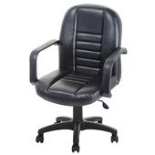 《GXG》短背皮面 電腦椅 (可後躺/塑膠腳) TW-1023 EK(黑色)