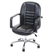 《GXG》短背皮面 電腦椅 (可後躺/鋁合金腳) TW-1023LUK(黑色)