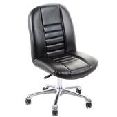 《GXG》短背方條 皮面電腦椅 (鋁合金腳) TW-1024 LU(黑色)