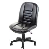 《GXG》短背皮面 無扶手電腦椅 (可後躺/塑膠腳) TW-1024EK(黑色)