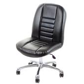《GXG》短背皮面 無扶手電腦椅 (可後躺/鋁合金腳) TW-1024LUK(黑色)