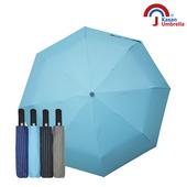 《【Kasan晴雨傘】》黑膠條紋晴雨兩用自動遮陽傘(水藍)