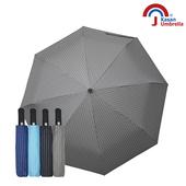 《【Kasan晴雨傘】》黑膠條紋晴雨兩用自動遮陽傘(灰色)