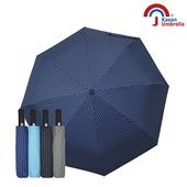 《【Kasan晴雨傘】》黑膠條紋晴雨兩用自動遮陽傘(深藍)