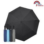 《【Kasan晴雨傘】》黑膠條紋晴雨兩用自動遮陽傘(黑色)