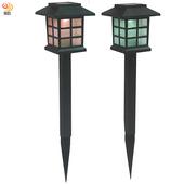 《月陽》超值2入日式七彩光太陽能自動光控LED庭園燈草坪燈插地燈 (JP5025C2)
