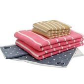 《MORINO》美國棉抗菌消臭圓點橫紋方毛浴巾3件組(圓點灰色方巾+橫紋卡其毛巾+橫紋粉紅浴巾)