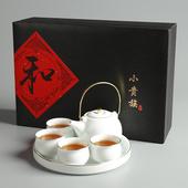 白瓷簡約茶具組(一壺四杯一茶盤)