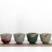 四季粗陶品茗杯-年年有餘(四杯)