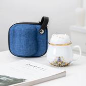 陶瓷茶水分離辦公杯 款式隨機出貨(藍 300ml)