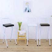 《頂堅》鋼管(厚型沙發皮革椅座)高腳折疊椅/吧台椅/高腳椅/櫃台椅/餐椅-三色(黑色)