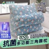 《格藍傢飾》親膚抗菌多功能三角靠枕-四色可選(贈空氣殺菌包1入)(藍花)