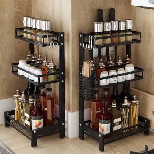 不銹鋼梯形廚房收納架(三層 34X21X60.5cm)