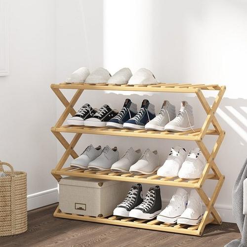 免安裝折疊楠竹四層鞋架(70X25X68cm)