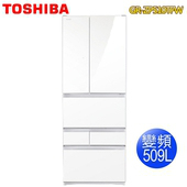 《TOSHIBA東芝》509L無邊框玻璃六門變頻電冰箱GR-ZP510TFW(含拆箱定位)