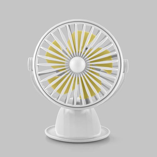 花網旋轉帶燈夾扇 USB充電 風扇 桌扇 小夜燈(白色)