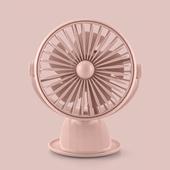 花網旋轉帶燈夾扇 USB充電 風扇 桌扇 小夜燈(粉色)