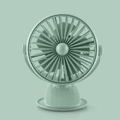花網旋轉帶燈夾扇 USB充電 風扇 桌扇 小夜燈(綠色)