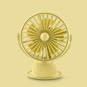 花網旋轉帶燈夾扇 USB充電 風扇 桌扇 小夜燈(黃色)