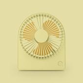 圓形便攜台式風扇 USB充電風扇 桌扇(黃色)