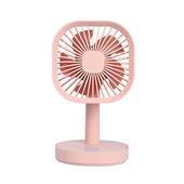 方形帶燈小台扇 USB充電 桌扇(粉色)