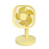 方形帶燈小台扇 USB充電 桌扇(黃色)