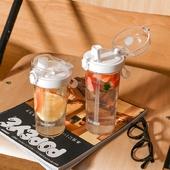 《豆豆樂》創意雙飲吸管杯 直飲兩用杯 420ml(櫻花粉)