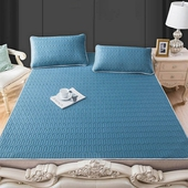 《可機洗》泰國乳膠涼感涼席 雙人加大床墊180X200cm 附枕套2個(藍色)