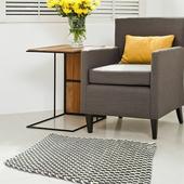 《halla malmo》印式工藝 棉質編織地墊 黑灰色 T030-V1(50*80 cm)