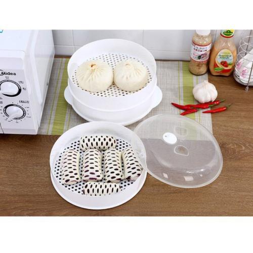 《食品級PP材質》微波爐專用蒸籠 包子饅頭加熱(26.5X11cm)