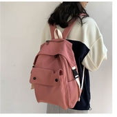 《韓版》簡約後背包28x12x43cm(磚紅色)