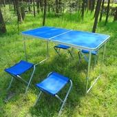 鋁合金攜帶式摺疊桌120X60 顏色隨機/戶外桌野餐桌露營桌(一桌四椅)