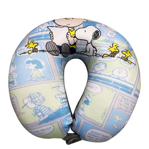 《史奴比》粒子頸枕 30*30cm U枕 車用枕 靠枕 靠墊 飛機枕(深藍)