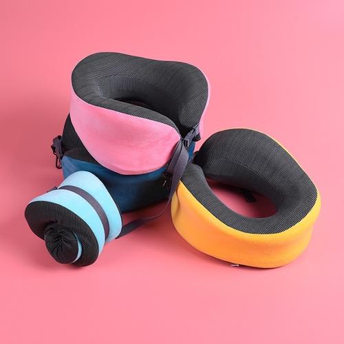 《磁石布》U型織帶扣頸枕 記憶棉 旅行頸枕(桃紅色)