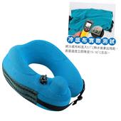 專利透氣設計按壓充氣旅行頸枕27X29X10cm 附收納袋(藍色)